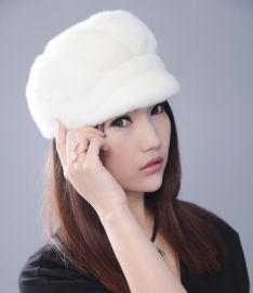 水貂皮草帽进口貂皮时尚保暖民族帽新款贝雷帽圆顶女帽