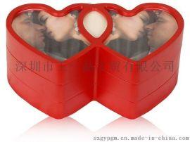 心形设计 心连心红色喜庆首饰盒 生日情人节礼物 木质珠宝盒