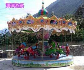 豪华转马厂家 室外大型旋转木马游乐设备 儿童12座转转马价格