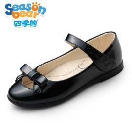四季熊**皮鞋2016儿童黑白色韩版中大童学生鞋公主演出鞋单鞋