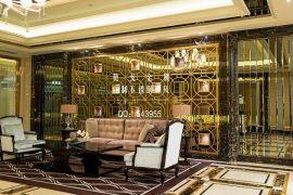 酒店前台不锈钢屏风背景墙 高端装饰不锈钢屏风花格