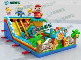 2016新款猪猪侠充气滑梯 气垫床儿童充气蹦蹦床