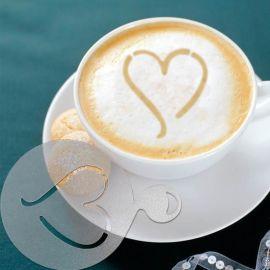 拉花咖啡模 塑料咖啡印花模套裝 四件套花式咖啡模