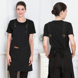 超市工作围裙定制logo广告围裙印字咖啡店奶茶店水果店挂脖围腰