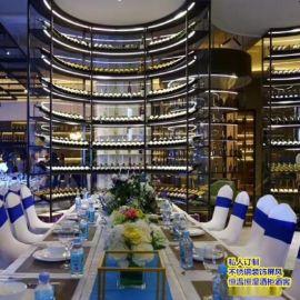 不鏽鋼酒櫃定制 會所高端紅酒展示櫃 皇宮304不鏽鋼恆溫酒櫃 酒架