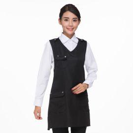 新款韩版无袖围裙纯色 奶茶店咖啡厅西餐厅服务员工作服挂脖围裙