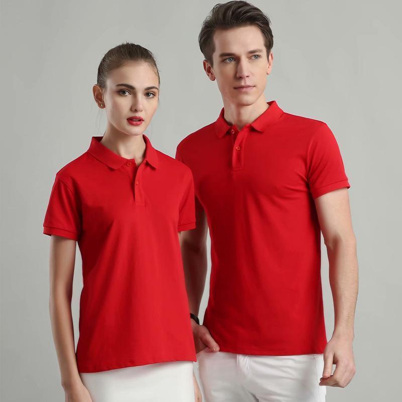 工作服t恤定製polo衫翻領純色短袖印字logo工衣廣告diy文化衫定做