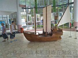 小型室内景观装饰木船餐饮吧台船海帆船盗木船