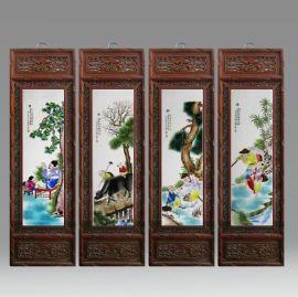 景德镇陶瓷名家手绘瓷板画粉彩人物童子客厅卧室挂壁画玄关装饰画