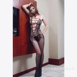 情趣丝袜批发时尚性感造型小蝴蝶结提花情趣连体内衣连身网袜