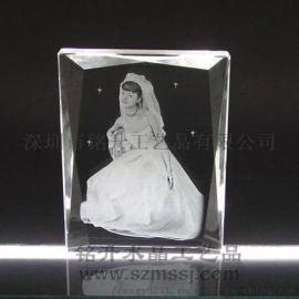婚纱照水晶内雕纪念品摆件,合影照片水晶相册定做