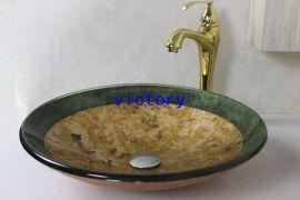 促销手绘艺术钢化玻璃洗手盆, 洗漱盆 ,台上盆 N-122