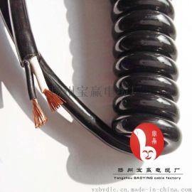 电动门螺旋电缆2芯0.75平方1平方1.5平方弹簧电线伸缩线厂家