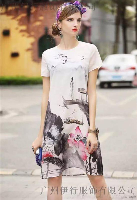高端折扣女装凯撒贝雷真丝连衣裙品牌尾货批发