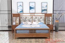 江苏木言木语新款中式床 简约实木双人床团购优惠