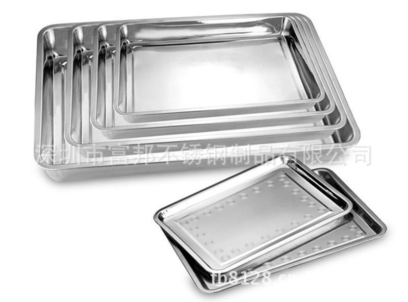 厂价直销04厚不锈钢方盘 长方形托盘 烧烤盘食物盘410材质深度2CM