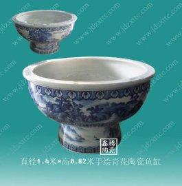 茶具定做陶瓷高脚缸,手工陶瓷大缸