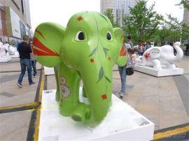 卡通大象雕塑 动物造型定制 玻璃钢卡通彩绘大象雕塑