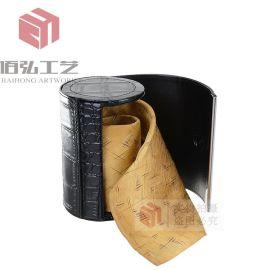 低价供应精美圆形领带皮盒 手帕礼品包装盒 丝巾礼品盒定制LOGO