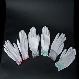 碳纤维涂掌手套十三针防静电手套静电PU涂掌手套灰色静电涂掌手套