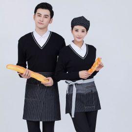 酒店秋冬装假2件针织餐饮服务员长袖西快餐咖啡厅工作服订做logo