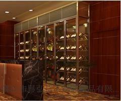 玫瑰金不锈钢恒温酒柜  弧形不锈钢  酒架