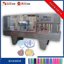 哪里供应塑料杯装酸奶气动式全自动灌装封口机 进诚机械定制圆盘式酸奶灌装封口机