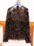 重工刺绣透明蕾丝亮片打底衫长袖