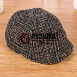 品牌時尚韓版羊毛帽子 加厚開普帽男女兒童毛呢鴨舌格子貝雷帽