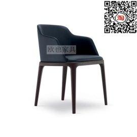 北欧设计师实木靠背餐椅复古西餐厅桌椅