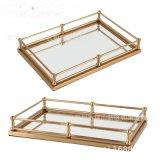 古銅色鐵玻璃鏡面金色鐵藝金屬正長方形托盤酒店軟裝飾品擺件創意