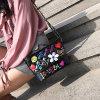 夏季新款2018時尚女包卡通塗鴉PU印花鏈條單肩包