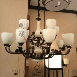 新中式吊灯客厅 新中式全铜吊灯 中国风