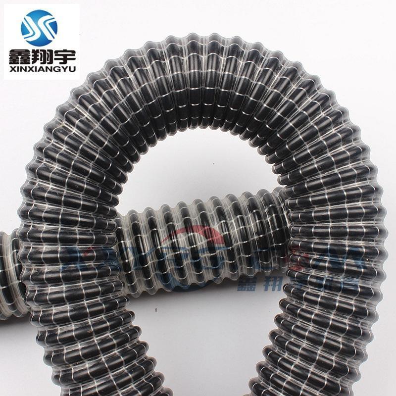 吸尘夹网管,黑皮白线吸尘管,PVC纤维增强耐高压吸尘通风管