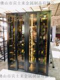 定做黑鈦拉絲不鏽鋼紅酒櫃承接各種酒窖不鏽鋼酒架酒櫃