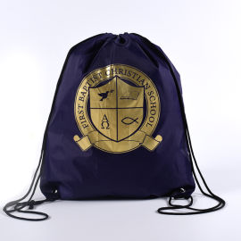 深海色涤纶束口袋牛津布袋定制logo印金双肩背包