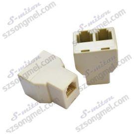 厂家直销 高品质电话转接头,电话三通,6P4C插座,直通头,三通