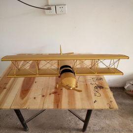 天月供应金属飞机模型摆件 铁艺飞机金色特价