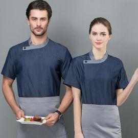 餐饮厨师工作服男女夏季短袖款品质厨师服长袖西餐厅酒店厨房定制