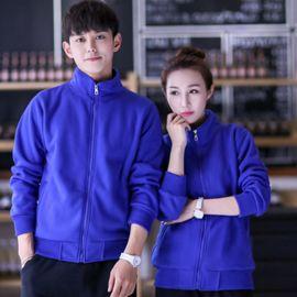 加绒韩版运动拉链立领卫衣工作装班服外套印字广告衫