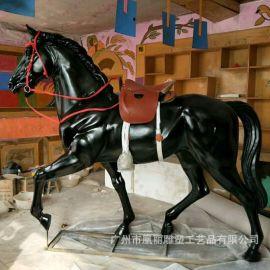 玻璃钢动物马雕塑 玻璃钢仿真动物模型雕塑定制 影视道具马雕塑