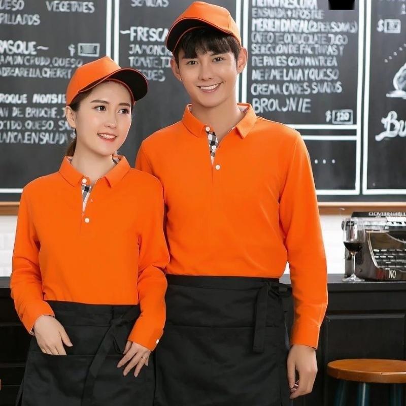 秋冬工作服T恤翻領長袖餐飲快餐店超市廣告衫男女服務員定製LOGO