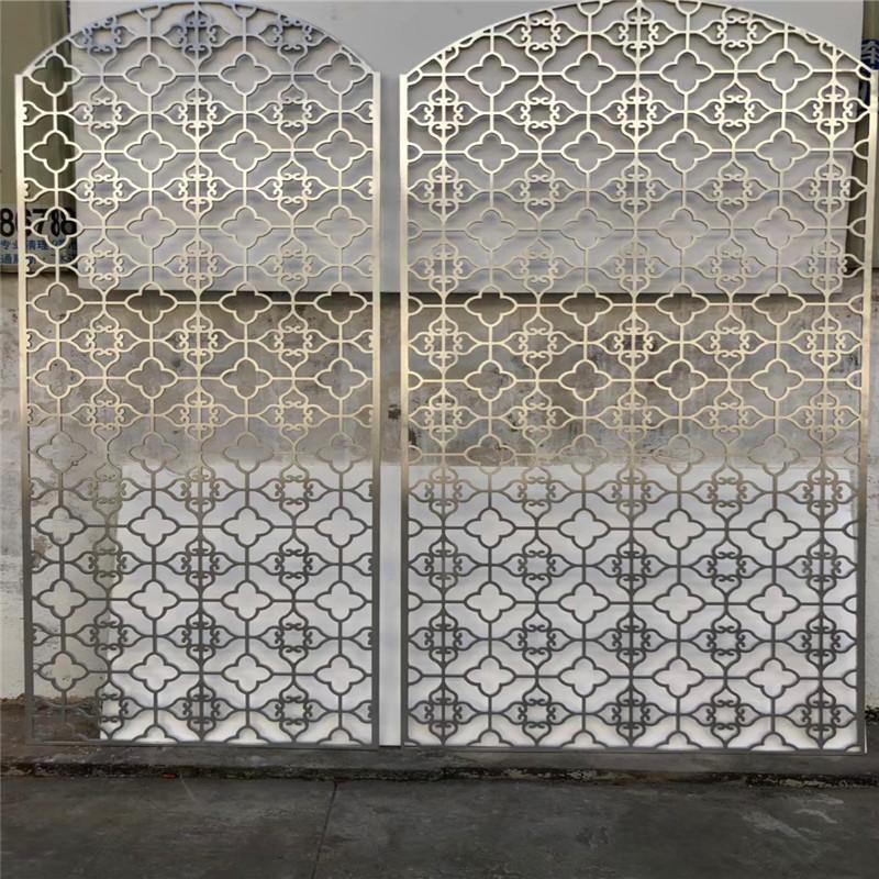 不鏽鋼酒店工程屏風安裝製做加工鋁雕鏤空花格屏風玫瑰金隔斷圖片