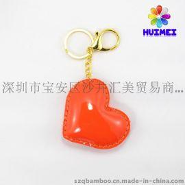 厂家直销 PU皮革填充钥匙扣 心形广告礼品钥匙扣 挂件 定制促销礼品 可压印logo