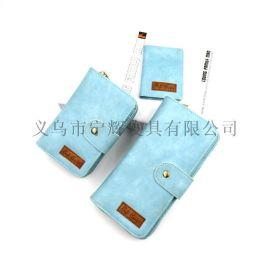 工厂定做三件套长短款钱包女式手拿手机包多卡位钱夹批发压印LOGO
