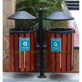户外垃圾桶钢木圆形垃圾桶分类垃圾桶果皮箱防腐塑木垃圾箱