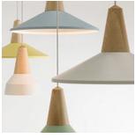 北歐創意實木彩色鋁材單頭吊燈 客廳餐廳吧檯咖啡廳服裝店燈具