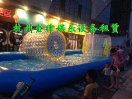 大型充气水池出租儿童手摇船水上跷跷板