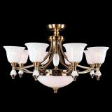 欧式客厅吊灯 简欧玉石铁艺铜灯美式奢华别墅卧室餐厅灯具批发
