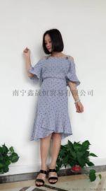 品牌女装折扣广西艾薇萱大码女装真丝连衣裙厂家直销